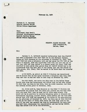 Primary view of object titled '[Report to W. P. Gannaway by L. D. Stringfellow, February 13, 1964]'.