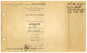 [Affidavit General by J. W. Fritz, charging Lee Harvey Oswald with the murder of Officer J. D. Tippit #1]
