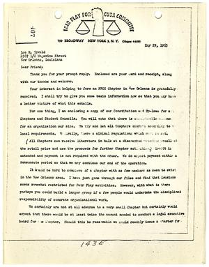 Primary view of object titled '[Letter from Fair Play for Cuba Committee to Lee Harvey Oswald, May 29, 1963 #3]'.