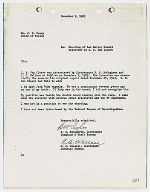 Primary view of object titled '[Report from P. G. McCaghren to Chief J. E. Curry, December 2, 1963]'.