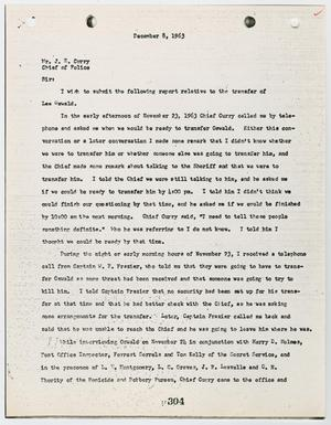 Primary view of object titled '[Report to Chief J. E. Curry by J. W. Fritz, regarding the transfer of Lee Harvey Oswald #2]'.