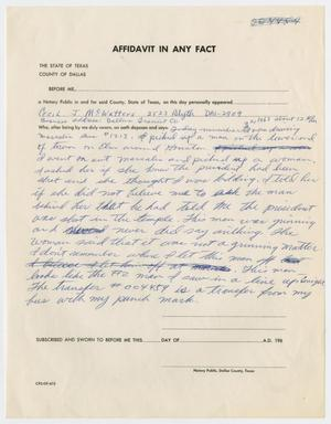 Primary view of object titled '[Affidavit by Cecil J. McWatters #1]'.