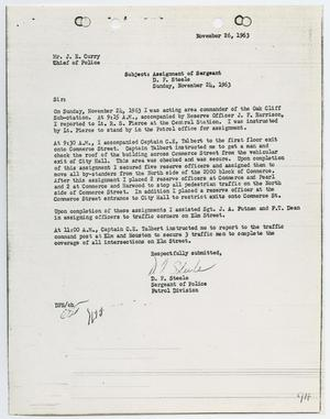 Primary view of object titled '[Report from D. F. Steele to Chief J. E. Curry, November 26, 1963]'.