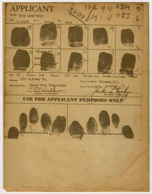 Primary view of object titled '[Fingerprints of Jack Ruby from Application]'.