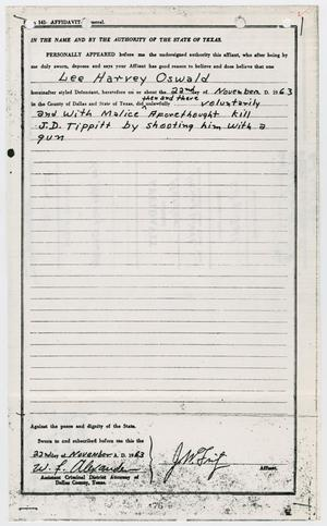 Primary view of object titled '[Affidavit General by J. W. Fritz #2]'.