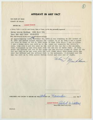 Primary view of object titled '[Affidavit in Any Fact - Statement by Helen Markham, November 22, 1963 #1]'.