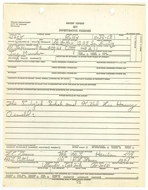 Primary view of object titled '[Arrest Report on Investigative Prisoner Jack Ruby #1]'.