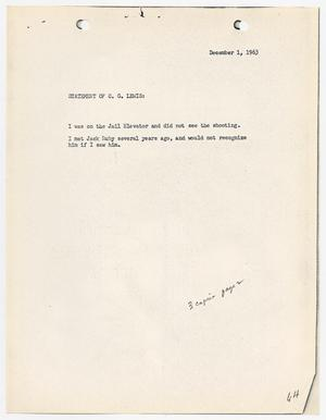 Primary view of object titled '[Statement by C. G. Lewis, concerning the murder of Lee Harvey Oswald]'.