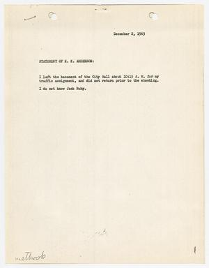 Primary view of object titled '[Statement by K. K. Anderson concerning the murder of Jack Ruby]'.