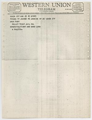 Primary view of object titled '[Telegram to Jack Ruby from A. Faletta, November 25, 1963 #2]'.