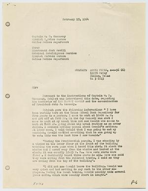 Primary view of object titled '[Criminal Intelligence Report by P. M. Parks to W. P. Cannaway, February 17, 1964]'.