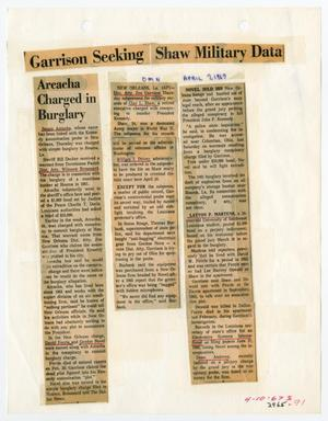 Primary view of object titled '[Newspaper Clipping: Garrison Seeking Shaw Military Data #2]'.