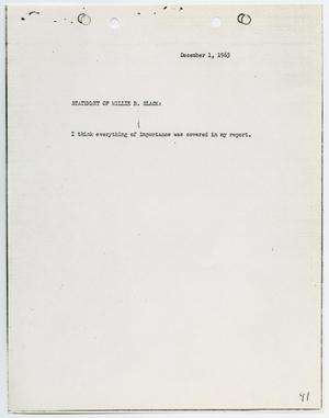 Primary view of object titled '[Typed Statement by Willie B. Slack]'.