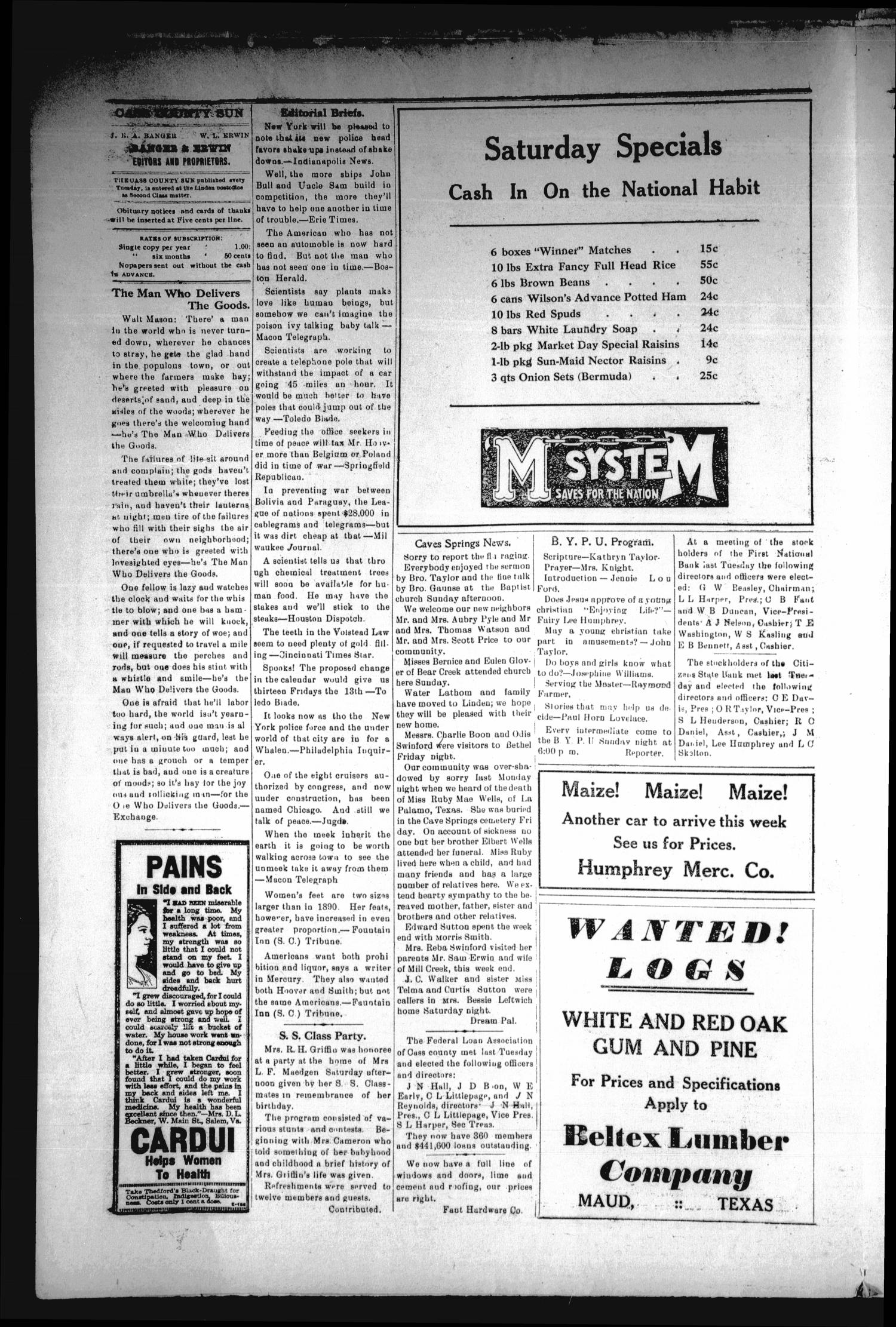 The Cass County Sun (Linden, Tex.), Vol. 54, No. 3, Ed. 1 Tuesday, January 15, 1929                                                                                                      [Sequence #]: 4 of 8