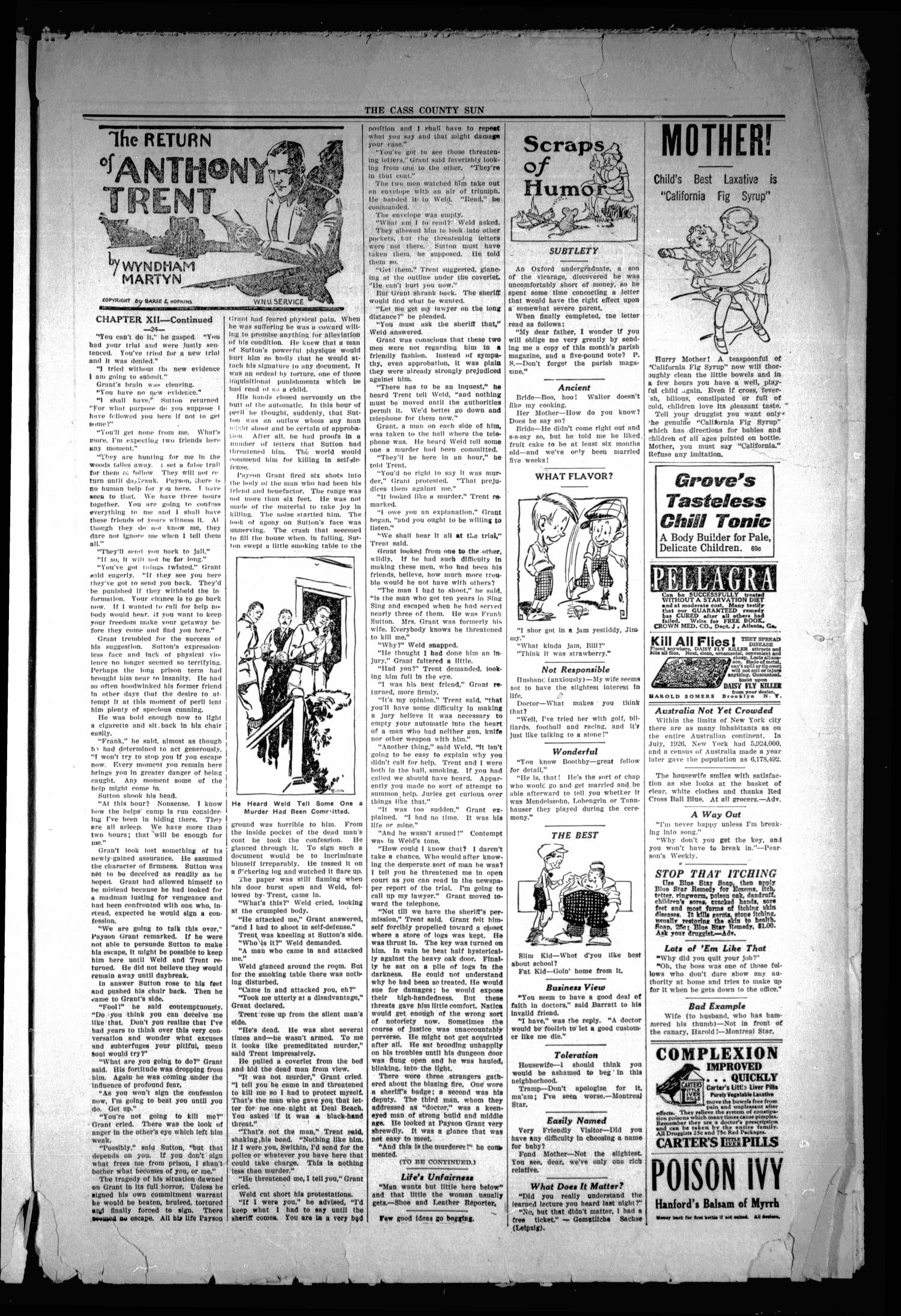The Cass County Sun (Linden, Tex.), Vol. 53, No. 29, Ed. 1 Tuesday, July 17, 1928                                                                                                      [Sequence #]: 3 of 8