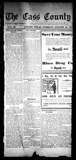 Primary view of object titled 'The Cass County Sun (Linden, Tex.), Vol. 39, No. [33], Ed. 1 Tuesday, August 18, 1914'.