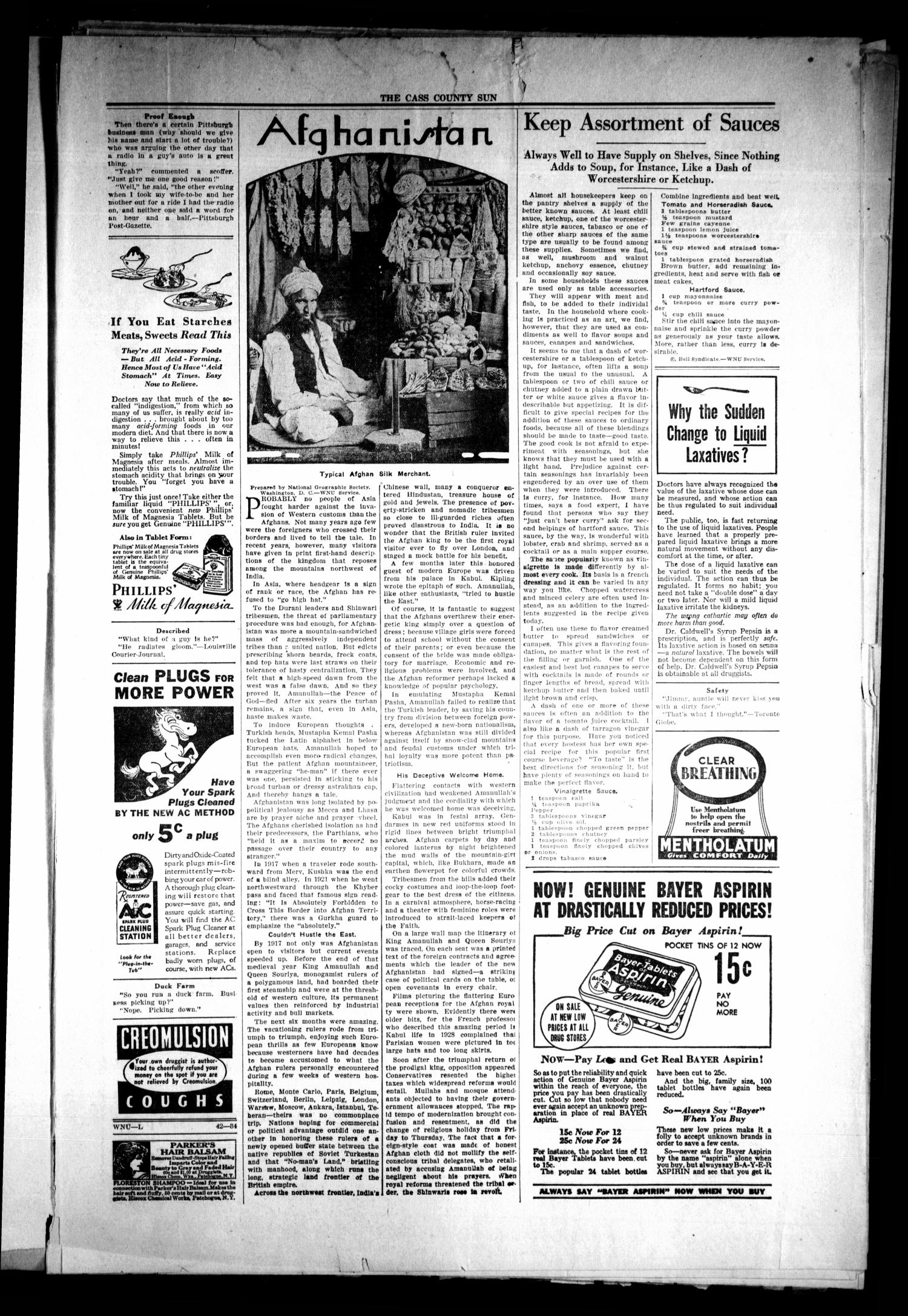 The Cass County Sun (Linden, Tex.), Vol. 59, No. 43, Ed. 1 Tuesday, October 23, 1934                                                                                                      [Sequence #]: 3 of 8