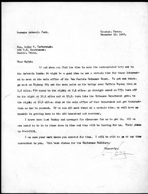 [Letter from Lenz to Yarborough] December 12th 1960
