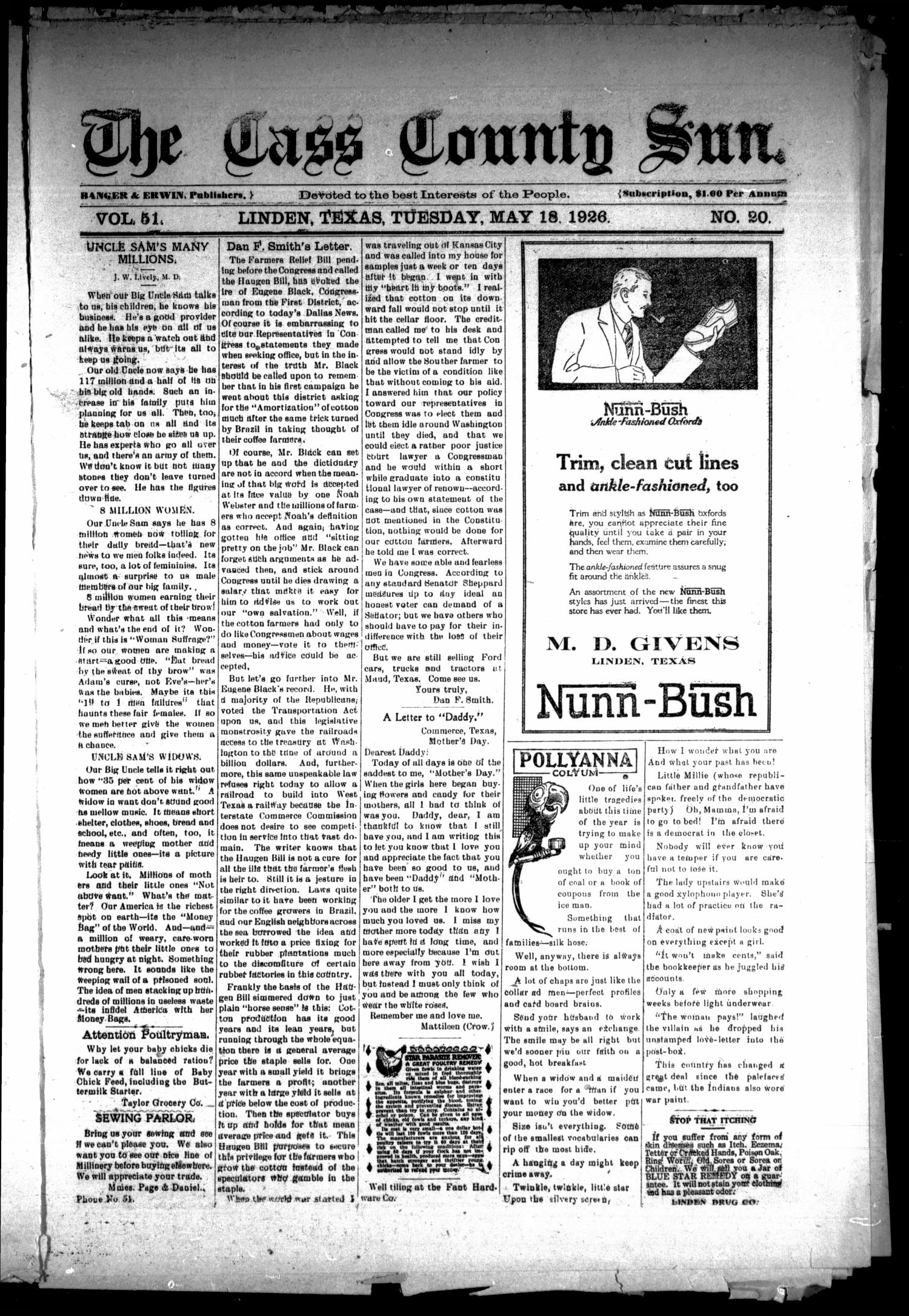 The Cass County Sun (Linden, Tex.), Vol. 51, No. 20, Ed. 1 Tuesday, May 18, 1926                                                                                                      [Sequence #]: 1 of 8