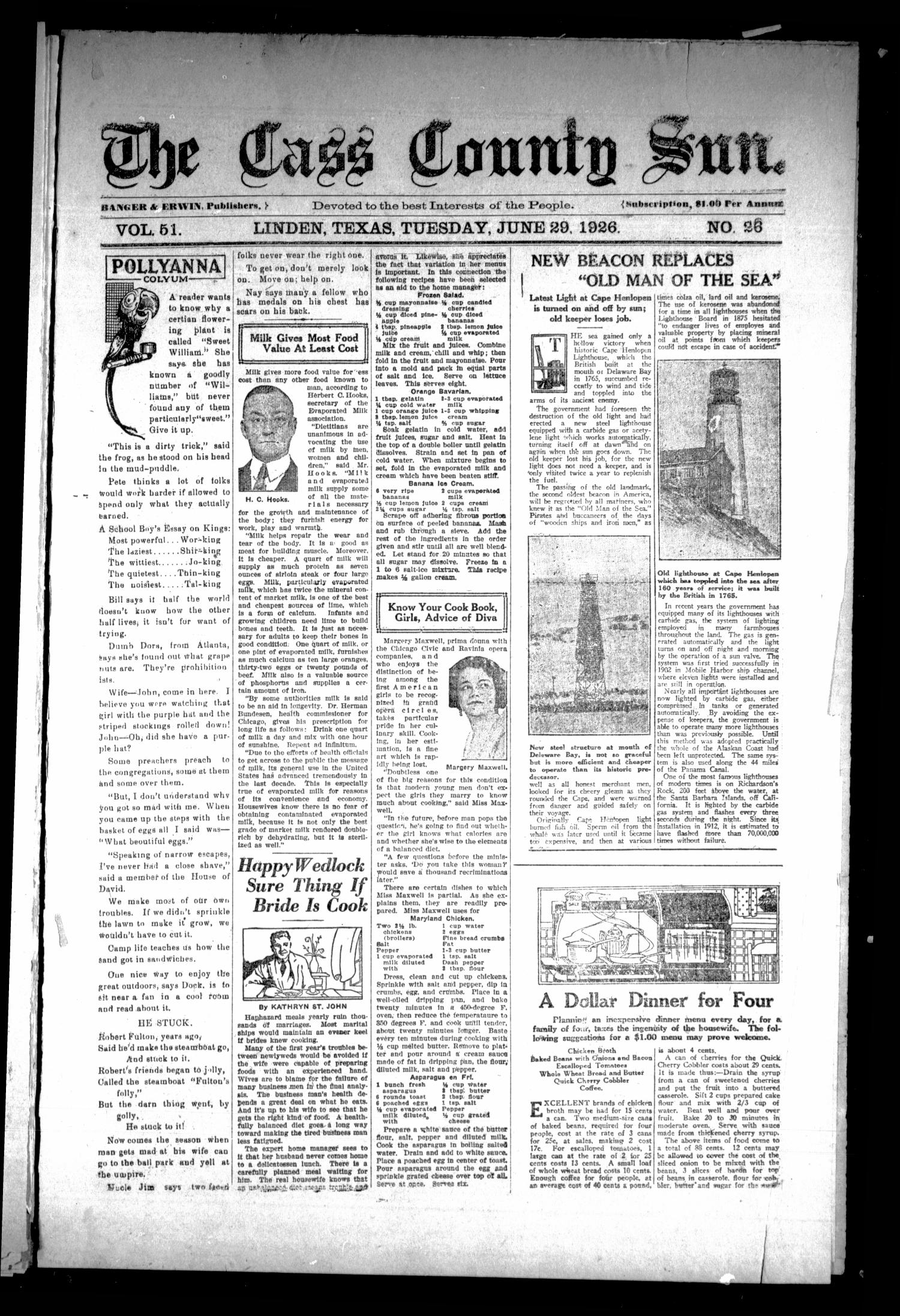 The Cass County Sun (Linden, Tex.), Vol. 51, No. 26, Ed. 1 Tuesday, June 29, 1926                                                                                                      [Sequence #]: 1 of 8