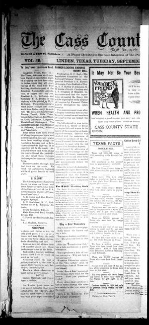 Primary view of object titled 'The Cass County Sun (Linden, Tex.), Vol. 39, No. [39], Ed. 1 Tuesday, September 29, 1914'.