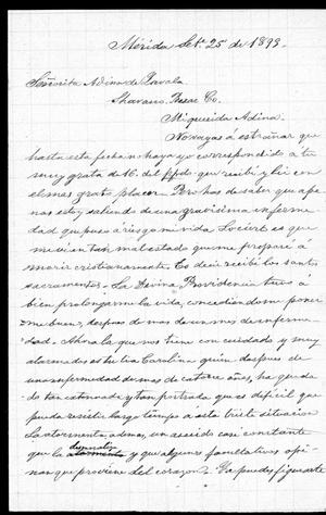 [Letter from de Zavala Jr to Adina - Spanish September 25th 1893]