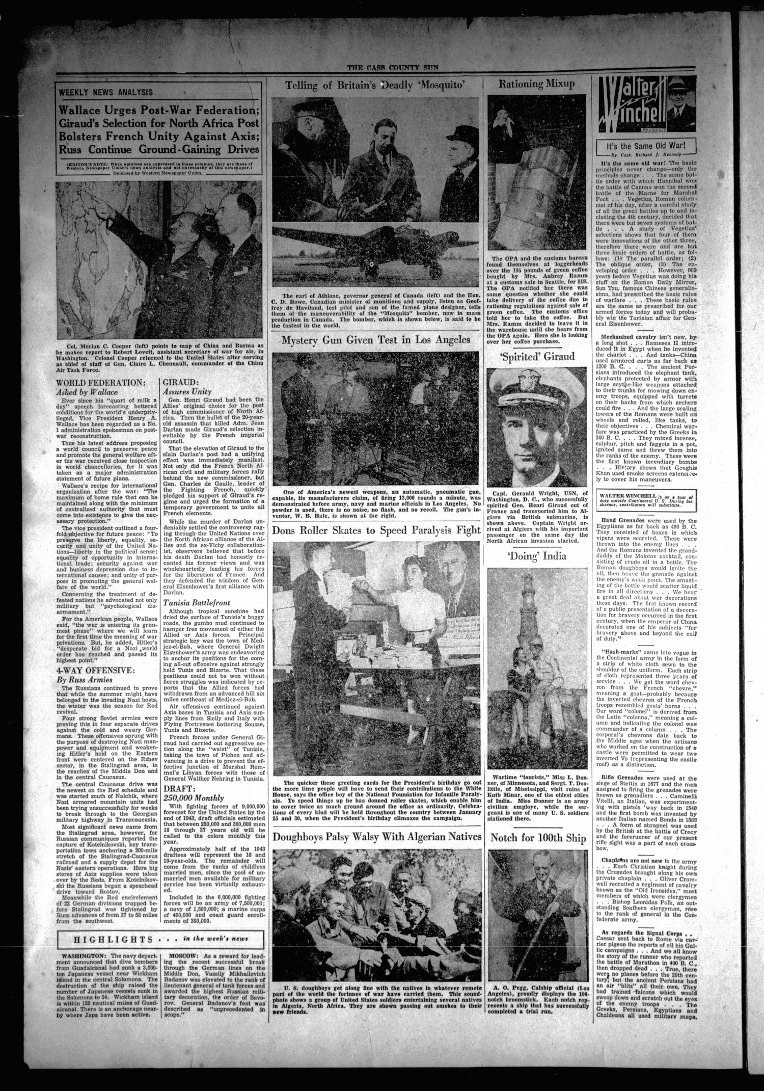 The Cass County Sun (Linden, Tex.), Vol. 67, No. 1, Ed. 1 Thursday, January 7, 1943                                                                                                      [Sequence #]: 2 of 8