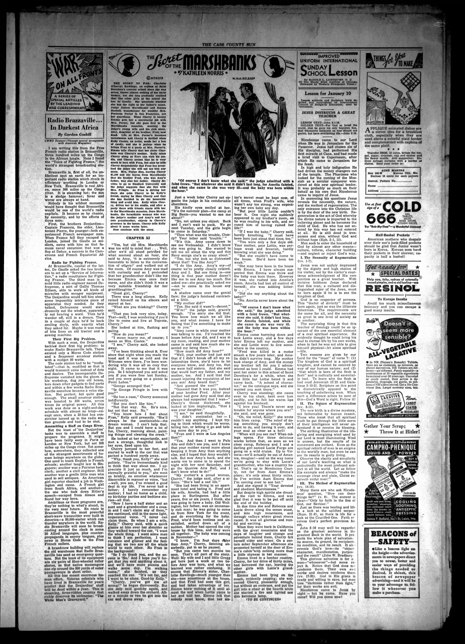 The Cass County Sun (Linden, Tex.), Vol. 67, No. 1, Ed. 1 Thursday, January 7, 1943                                                                                                      [Sequence #]: 3 of 8
