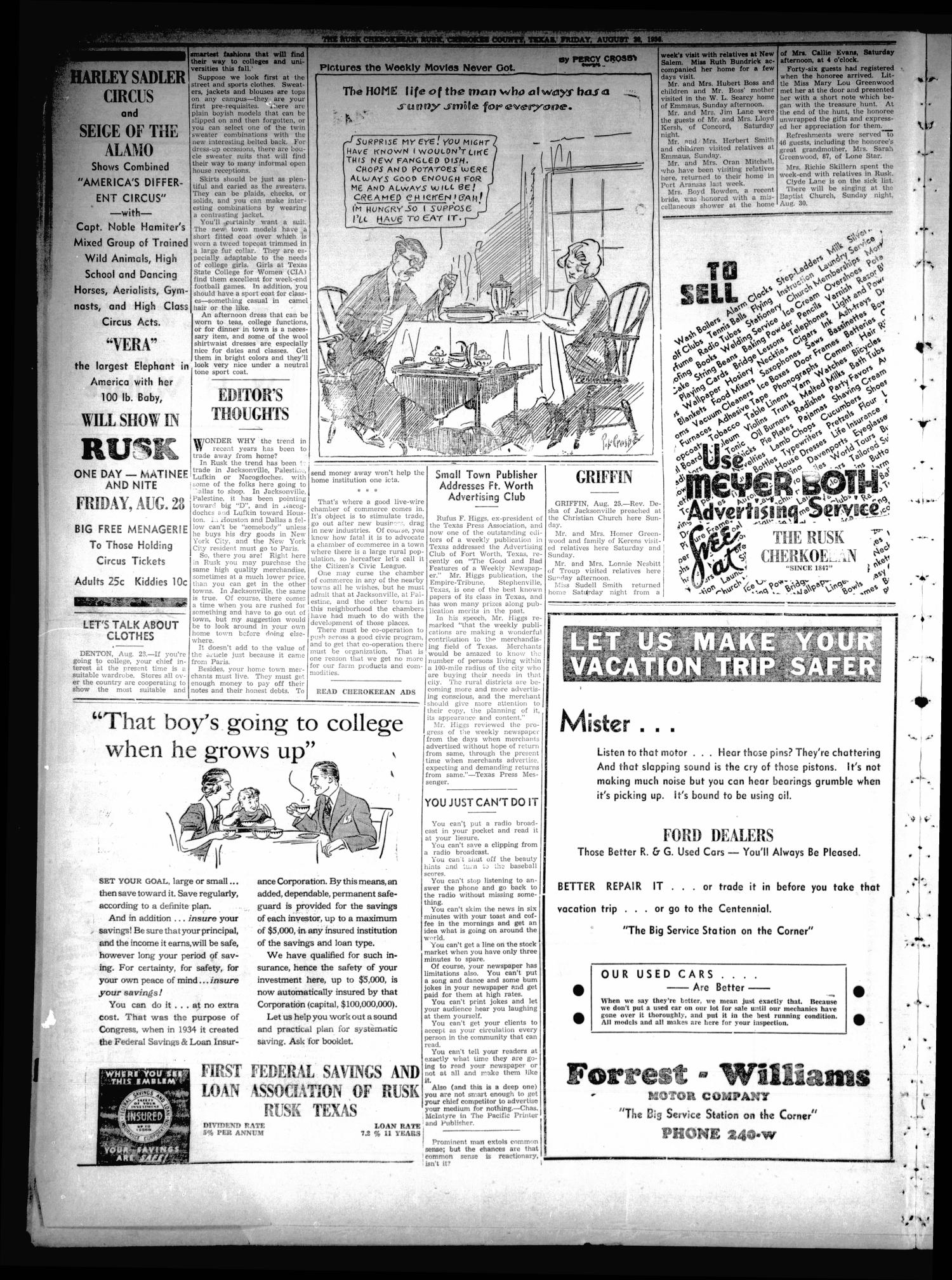 The Rusk Cherokeean (Rusk, Tex.), Vol. 18, No. 6, Ed. 1 Friday, August 28, 1936                                                                                                      [Sequence #]: 4 of 8