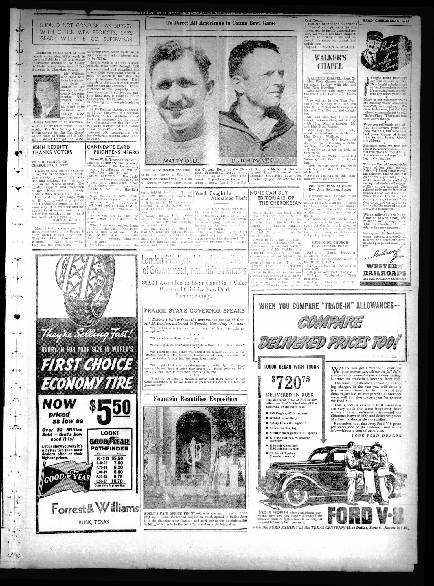 The Rusk Cherokeean (Rusk, Tex.), Vol. 18, No. 6, Ed. 1 Friday, August 28, 1936                                                                                                      [Sequence #]: 5 of 8
