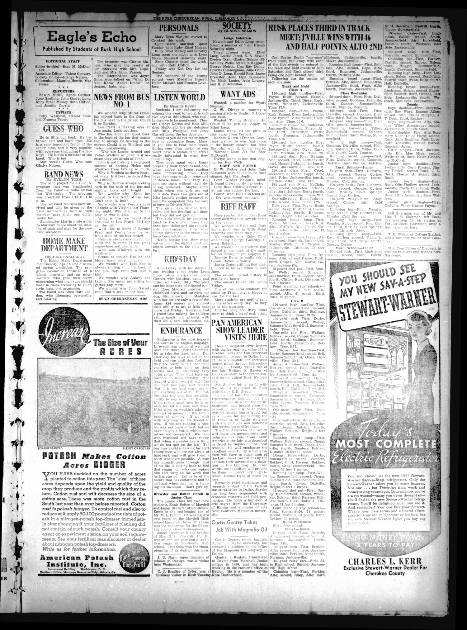 The Rusk Cherokeean (Rusk, Tex.), Vol. 18, No. 37, Ed. 1 Friday, April 9, 1937                                                                                                      [Sequence #]: 3 of 6