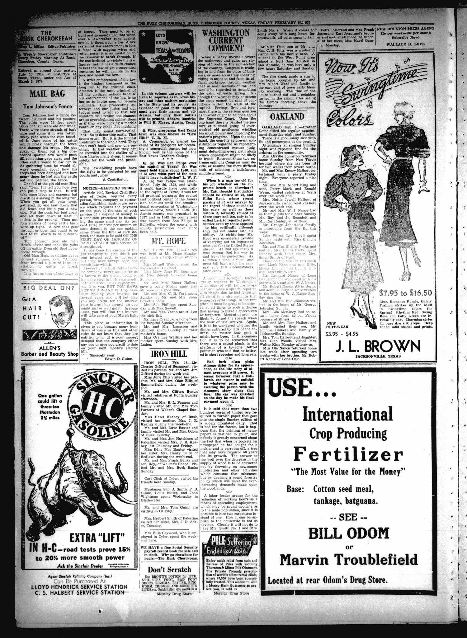 The Rusk Cherokeean (Rusk, Tex.), Vol. 18, No. 30, Ed. 1 Friday, February 19, 1937                                                                                                      [Sequence #]: 2 of 8