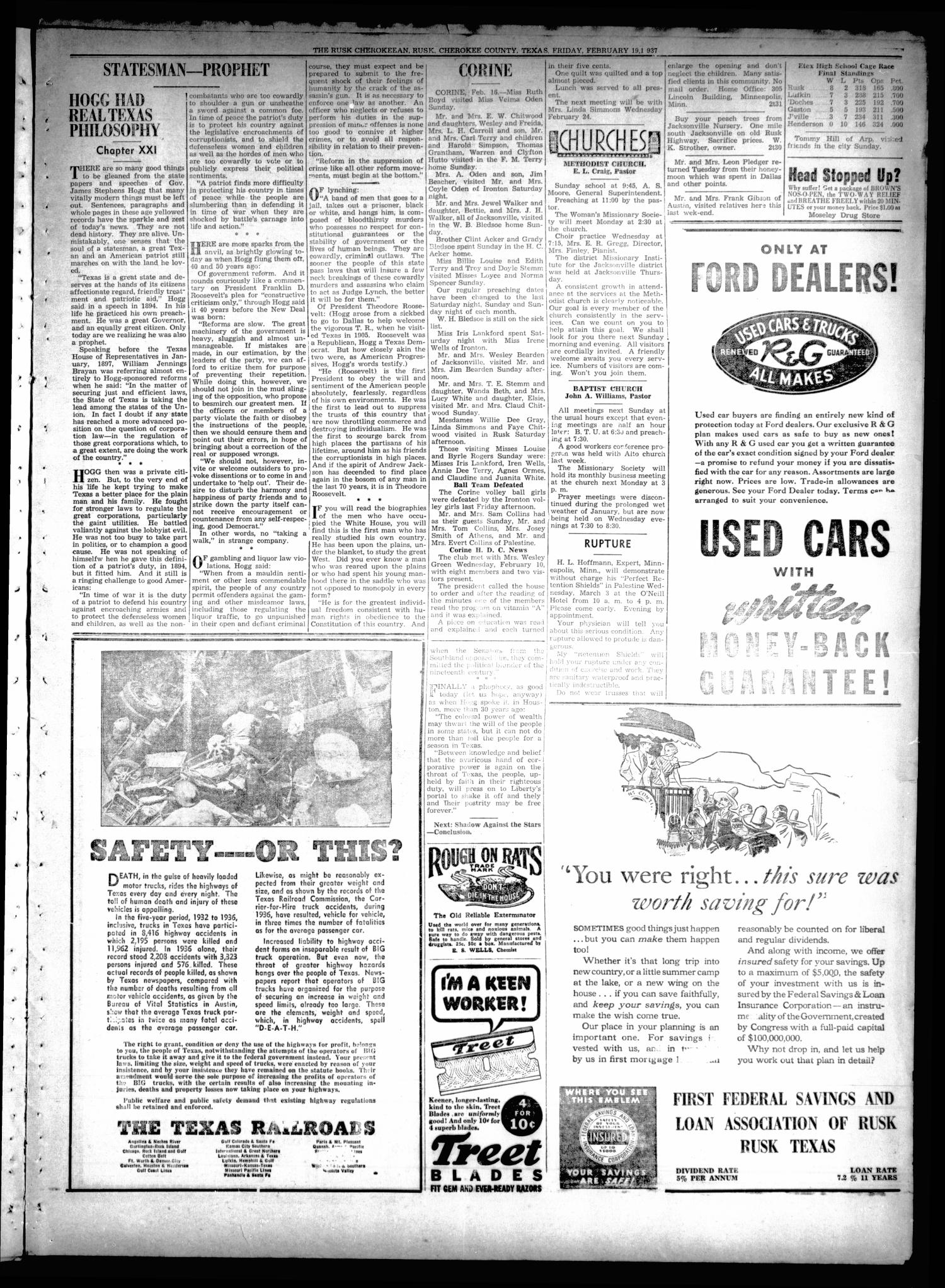 The Rusk Cherokeean (Rusk, Tex.), Vol. 18, No. 30, Ed. 1 Friday, February 19, 1937                                                                                                      [Sequence #]: 3 of 8