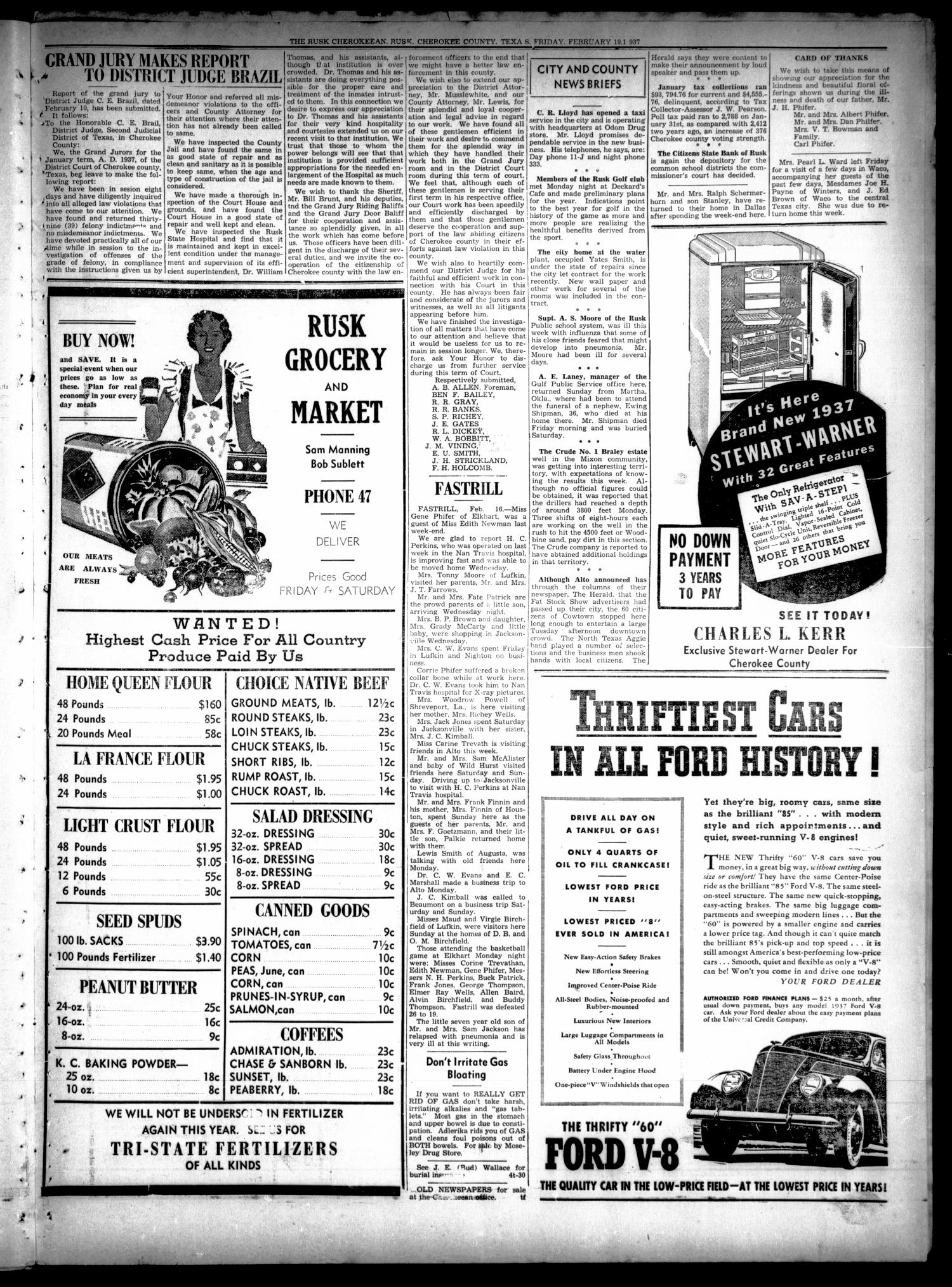 The Rusk Cherokeean (Rusk, Tex.), Vol. 18, No. 30, Ed. 1 Friday, February 19, 1937                                                                                                      [Sequence #]: 5 of 8