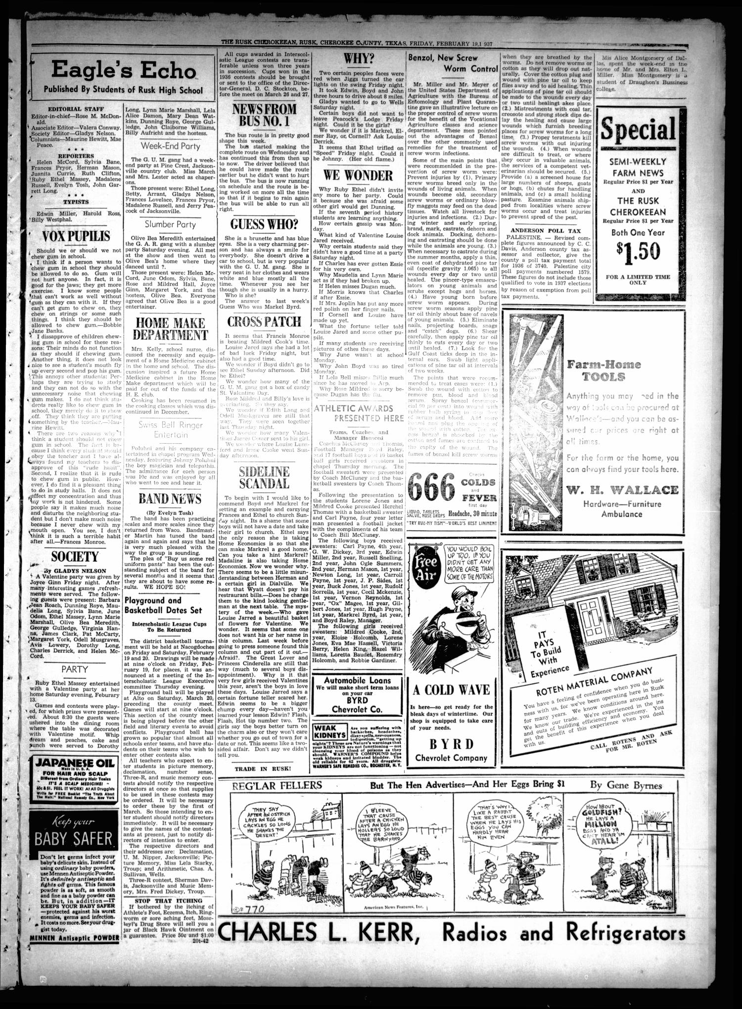The Rusk Cherokeean (Rusk, Tex.), Vol. 18, No. 30, Ed. 1 Friday, February 19, 1937                                                                                                      [Sequence #]: 7 of 8