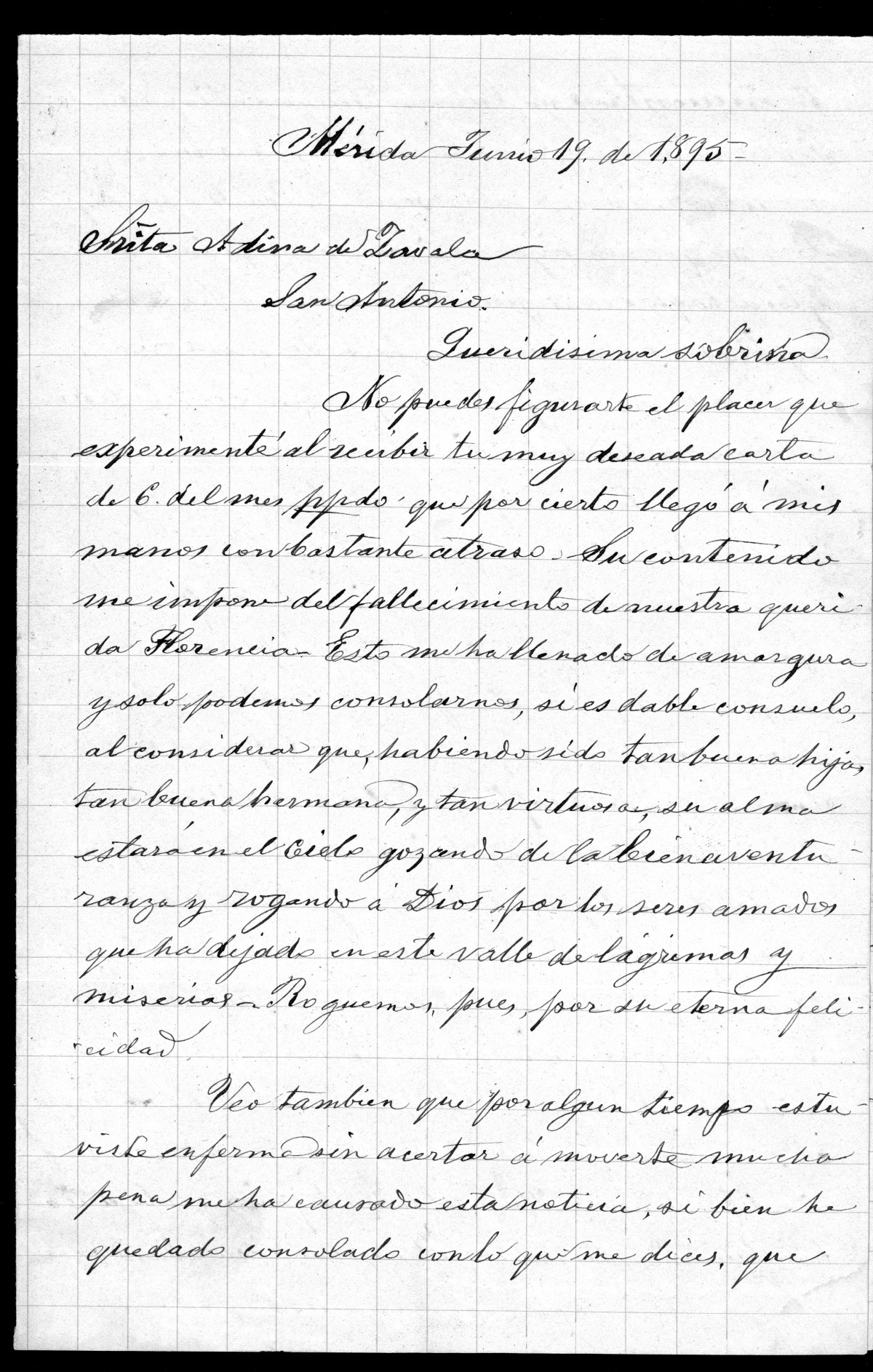 [Letter from de Zavala Jr to Adina - Spanish June 19th 1895]                                                                                                      [Sequence #]: 1 of 3