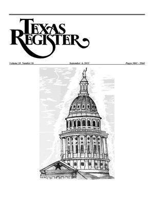 Primary view of object titled 'Texas Register, Volume 38, Number 36, Pages 5801-5944, September 6, 2013'.