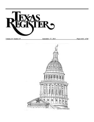 Primary view of object titled 'Texas Register, Volume 38, Number 39, Pages 6341-6746, September 27, 2013'.