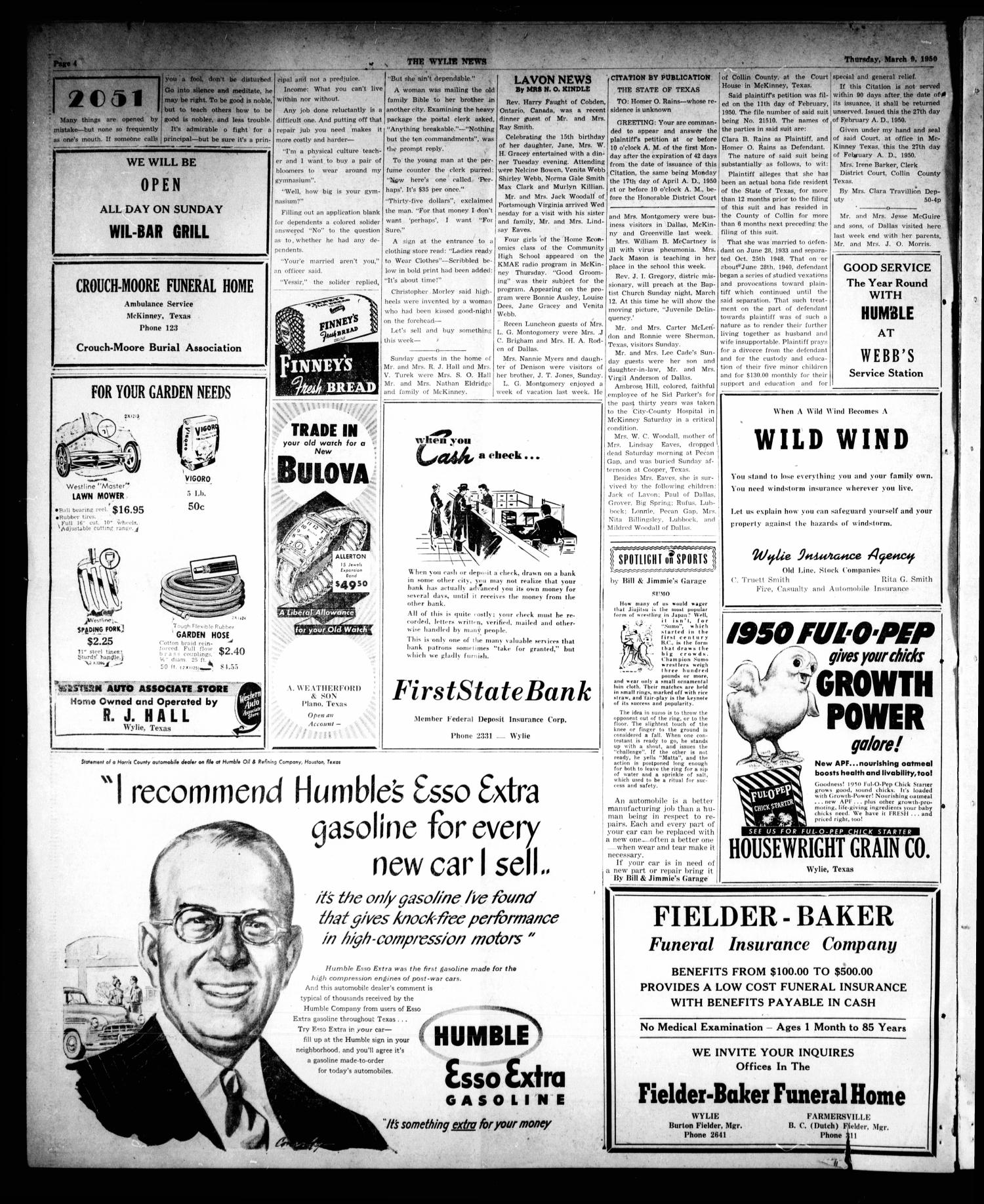 The Wylie News (Wylie, Tex.), Vol. 2, No. 51, Ed. 1 Thursday, March 9, 1950                                                                                                      [Sequence #]: 4 of 4