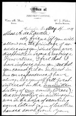 [Letter from Victor Rose to Adina de Zavala] May 4th, 1889