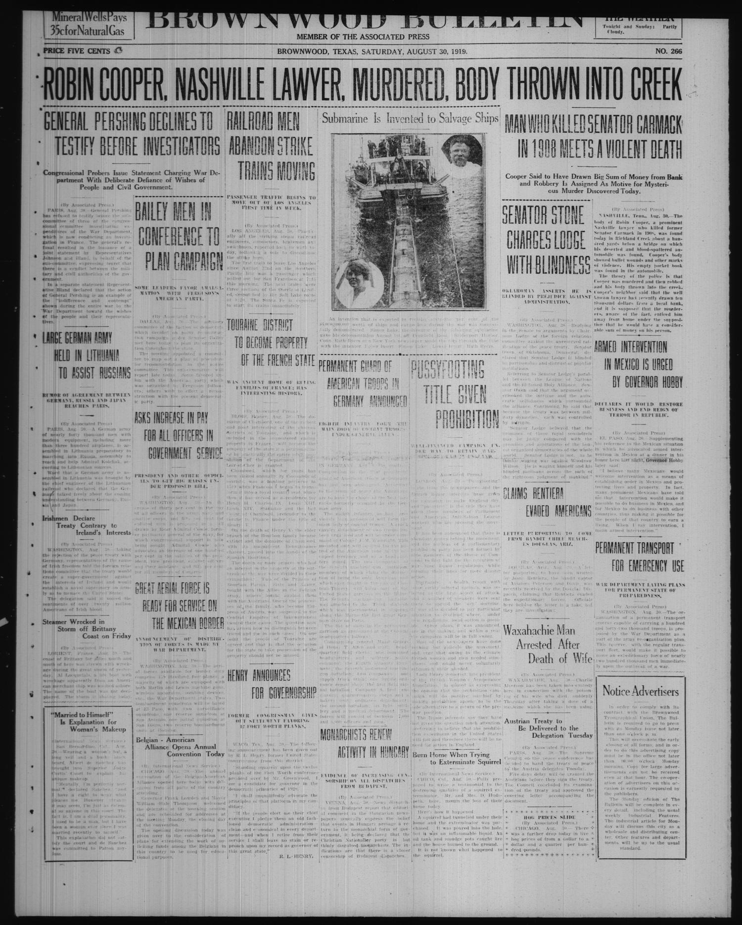 Brownwood Bulletin (Brownwood, Tex.), No. 266, Ed. 1 Saturday, August 30, 1919                                                                                                      [Sequence #]: 1 of 6
