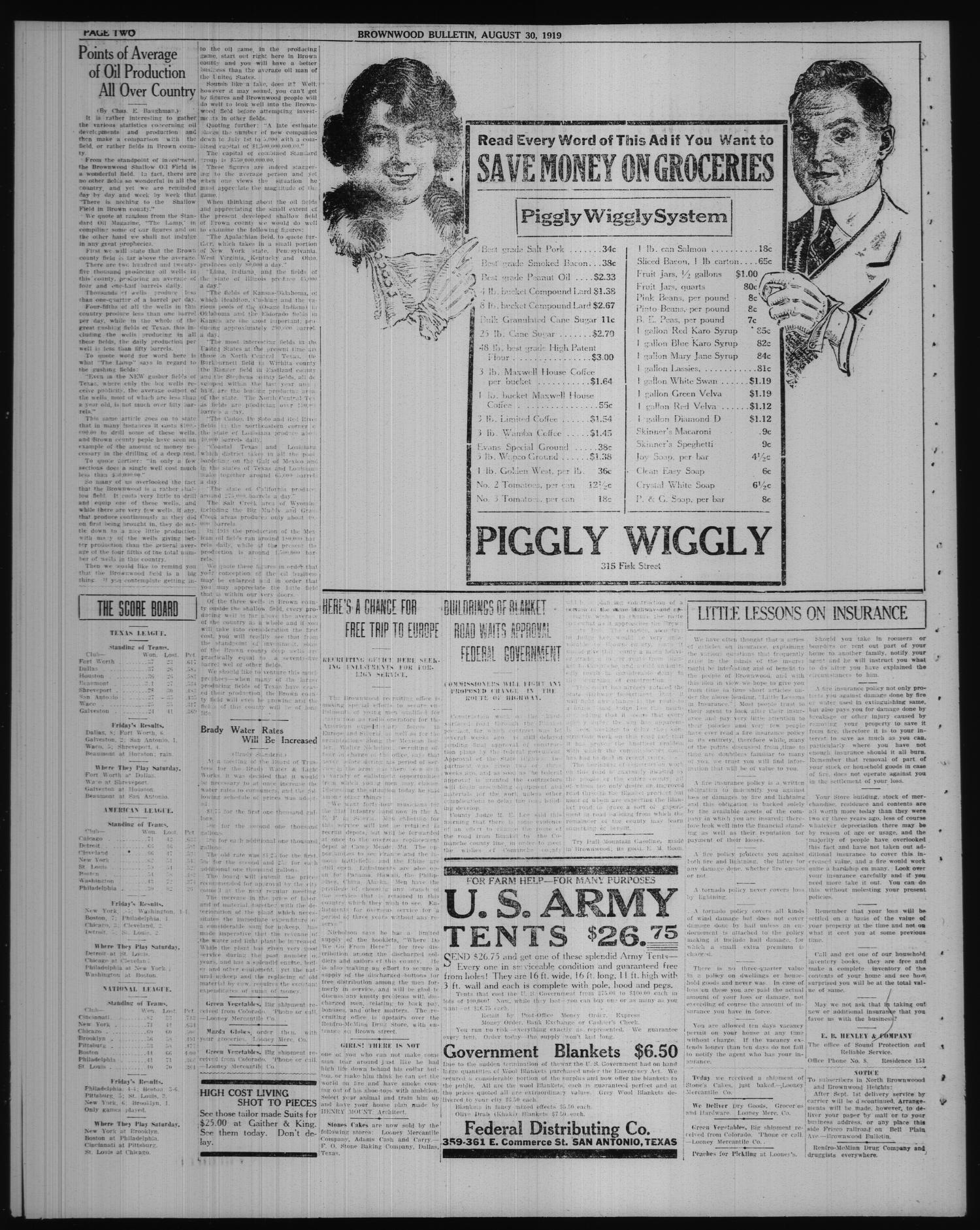 Brownwood Bulletin (Brownwood, Tex.), No. 266, Ed. 1 Saturday, August 30, 1919                                                                                                      [Sequence #]: 2 of 6