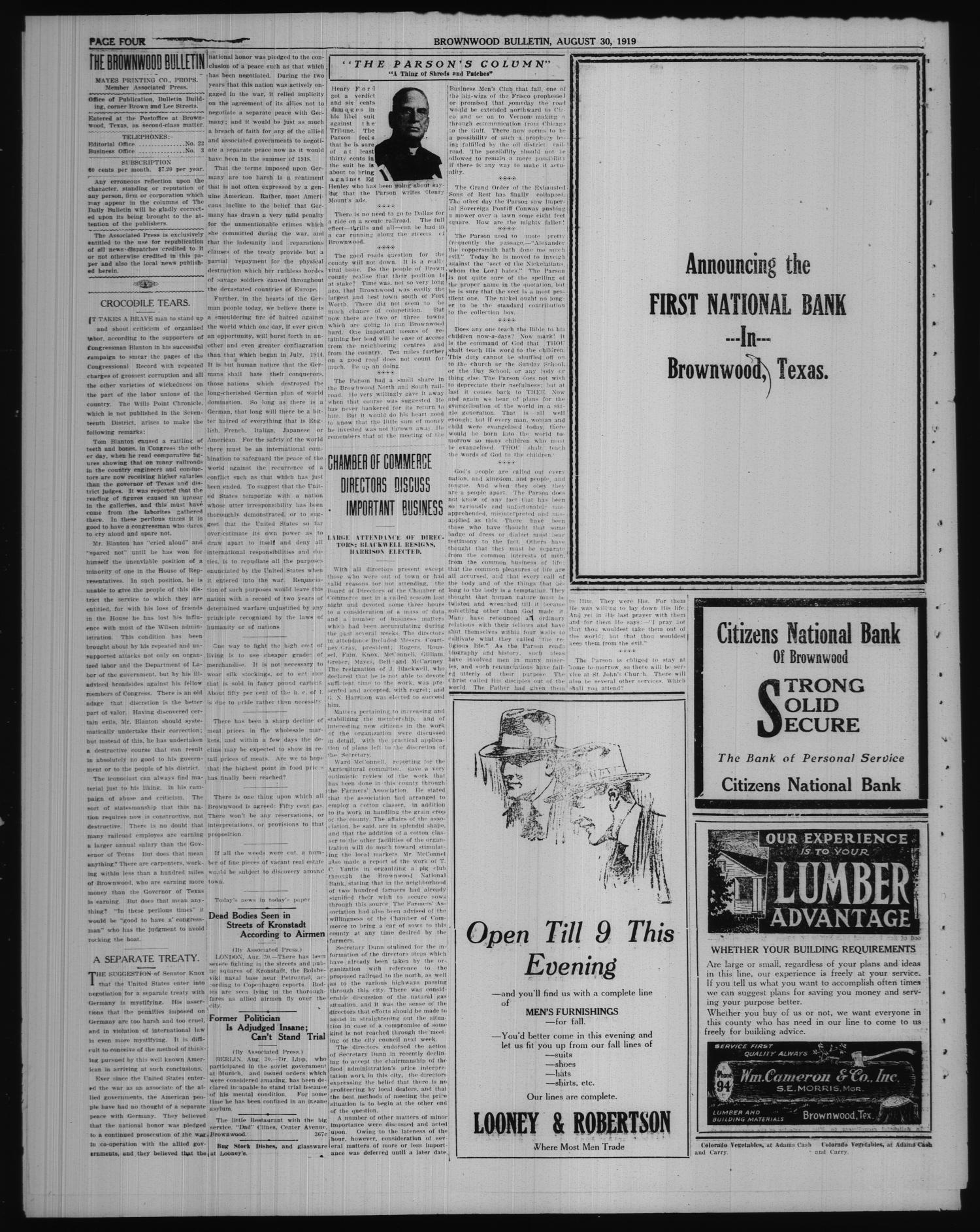 Brownwood Bulletin (Brownwood, Tex.), No. 266, Ed. 1 Saturday, August 30, 1919                                                                                                      [Sequence #]: 4 of 6