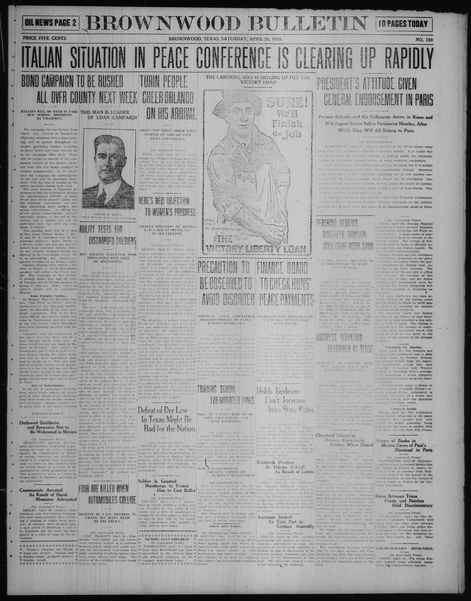 Brownwood Bulletin (Brownwood, Tex.), No. 159, Ed. 1 Saturday, April 26, 1919                                                                                                      [Sequence #]: 1 of 10