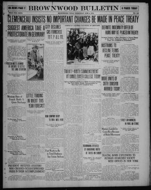 Primary view of object titled 'Brownwood Bulletin (Brownwood, Tex.), No. 192, Ed. 1 Wednesday, June 4, 1919'.