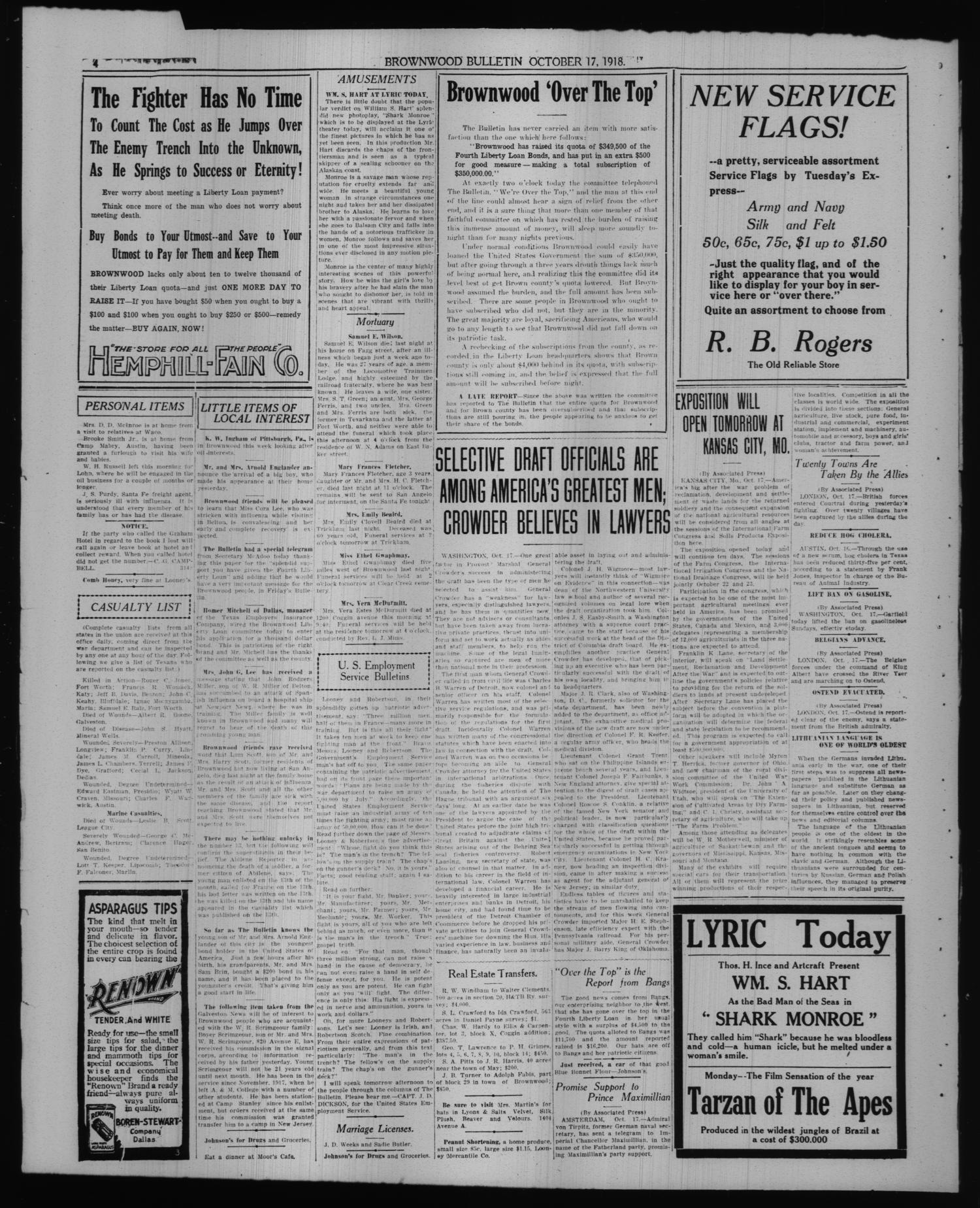 Brownwood Bulletin Tex Vol 17 No 312 Ed 1 Raisa Font College Navy M Thursday October 1918 Page 4 Of The Portal To Texas History