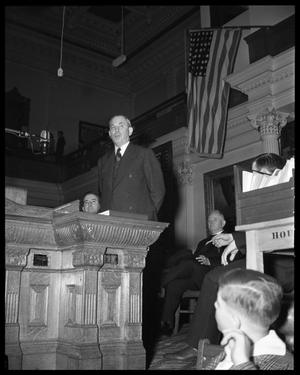 Primary view of object titled 'J. Frank Norris speaking to the Texas Legislature'.