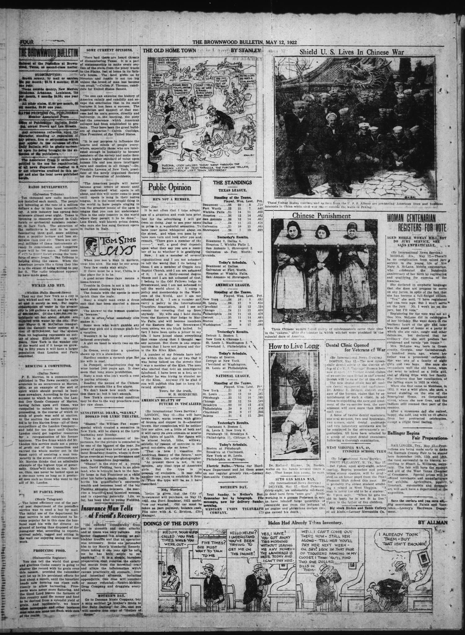 Brownwood Bulletin (Brownwood, Tex.), Vol. 22, No. 178, Ed. 1 Friday, May 12, 1922                                                                                                      [Sequence #]: 4 of 6