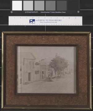 Primary view of object titled '[Framed Drawing of one side of the Courthouse Square in Palestine, Texas]'.