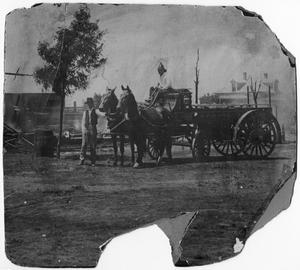 Primary view of object titled 'Horse-Drawn Fire Wagon'.